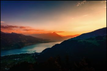 Sonnenuntergang auf der Harder Kulm, Interlaken